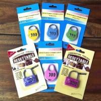 Gembok Gantungan Kunci Pin Password Angka Nomor Besi Bagasi Tas Koper