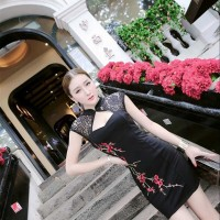Lace Flower Embroidered Cheongsam (BLACK) / Party Dress - HQ 16025