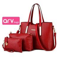 Jual Tas Sling Bag Wanita 3IN1 Motif Anyaman Merah Gudang Tas Bandung Murah