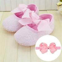 Sepatu Prewalker Bayi Perempuan Pita Pink