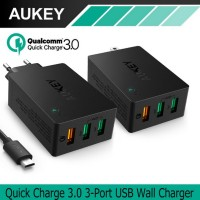 Jual AUKEY CHARGER 3 USB PORTS QUICK CHARGE 3.0 WALL CHARGER PA-T14 Murah