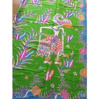 kain batik printing wayang hijau