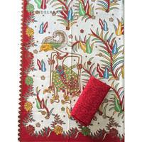 kain batik printing wayang putih merah mix embos