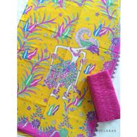 kain batik printing wayang kuning pink mix embos