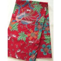 Kain batik print burung merah