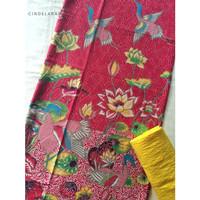 Kain batik print bangau merah