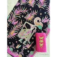 kain batik printing wayang hitam pink mix embos