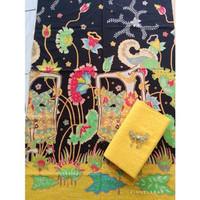 kain batik wayang baru hitam-kuning dan embos