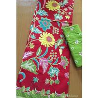 Kain Batik Printing Bunga Matahari Merah mix Embos