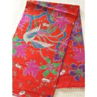 Kain batik print burung orange