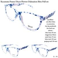 Kacamata branded Frame diyor flower dalmation biru Fullset