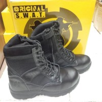 SEPATU BOOTS BOOT PDL HIKING GUNUNG OUTDOOR Swat Hitam 8in UJUNG BESI