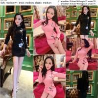 26596 Sexy Flowery Cheongsam Dress / Dress Cheongsam Hitam Pink