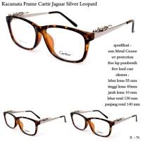 Kacamata frame cartir jaguar full set silver - leopard