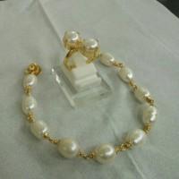 Set Perhiasan Gelang Dan Cincin Mutiara Air Tawar Lapis Emas 24K