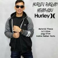 Hurley Raglan Hitam Abu / Jaket Murah / Grosir Jaket