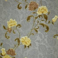 wallpaper dinding ruang tamu bunga vintage emboss timbul abu-abu tua