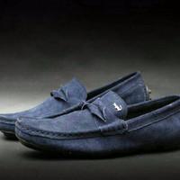 sepatu lacoste slip on navy asli kulit suede