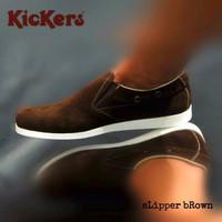 sepatu kickers slipper brown suede