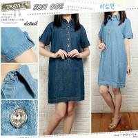 Jual DRESS JEANS 8011/Dress Jeans kerah/Mini Dress Jeans Online/LL Murah