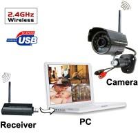 USB DVR Digital Wireless 2.4GHz 4 x IR Camera Security System