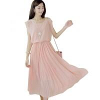 Jual Dress Wanita Korean Style Sleeveless Chiffon Dress Pink Murah