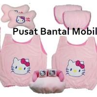 Jual bantal mobil hello kitty 5 in 1 (bantal mobil, sarung jok, car set) Murah