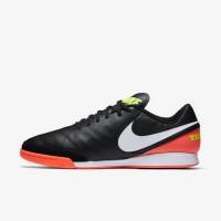 Sepatu Futsal Nike Tiempo Genio II Leather IC Hitam Orange Original