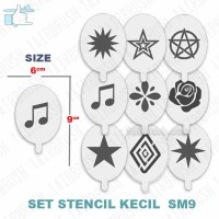 Stencil cetakan gambar set kecil airbrush SM9