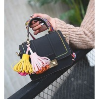 TAS KULIT HANDBAG BLACK MINI SELEMPANG SHOULDERBAG/MURAH KOREAN IMPORT