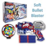 Senjata Nerf Gun Soft Bullet Kapten Amerika / Pistol Mainan Anak