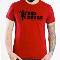 Kaos Bola Fans Manchester United Red Devils Logo Baju Raglan Distro