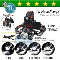Lampu Kepala T6 High Power Headlamp Cree XM-L T6 5000 Lumens