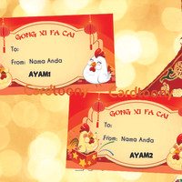 Sticker / stiker label kado ahdiah Imlek Ayam / Rooster Gong Xi Fa Cai