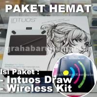 Paket Wacom Intuos Draw Putih Pen Tablet Desain Grafis + Wireless Kit