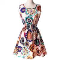 Jual Dress Wanita Motif Bunga Bohemian Sleeveless Dress Murah