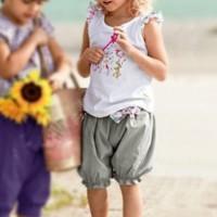 Setelan Anak Cewek Import - Flowery White and Grey Girl Set
