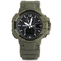 Jam tangan SKMEI AD 1040 COMMANDER Original dual time GREEN ARMY TNI