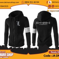 Jaket Hoodie L DeathNote Death Note Casual Black Stripes [DG JA DN 19]