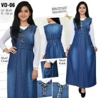 Gamis maxi jeans overall kancing rok kodok dress soft jeans denim