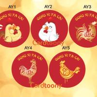 Stiker / sticker imlek Ayam / Chicken Gong Xi Fa Cai kado souvenir kue