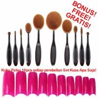 Set 10pcs 10 pcs Kuas Kosmetik Wajah Make Up Oval Brush Makeup