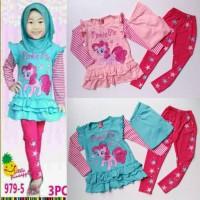 Baju Setelan Muslim Anak Perempuan Pony Pinkie Pie Garis Peach Tosca