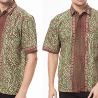 Jual Kemeja Hem Batik Pria Hijau Murah