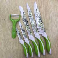 Jual Pisau Dapur Keramik Motif Anti Bacteria Set 6 Pcs Packing Press (Perle Murah