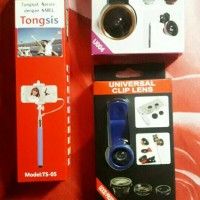 Jual Paket tongsis cable + super wide 0,4x + fish eye Murah