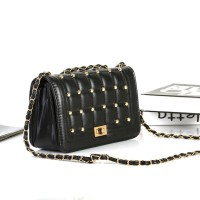 TAS STUD GOLD BULAT SELEMPANG SHOULDER BAG BLACK ELEGAN FASHION PESTA