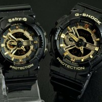 JAM TANGAN COUPLE CASIO GSHOCK GA110 BLACK LIST GOLD