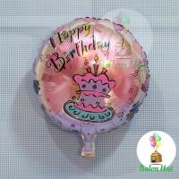Balon Foil Bulat / Round Shape Tema Cake Happy Birthday Pink Salem