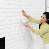 Jual Sticker Wallpaper 3D Motif Bata Putih Stiker Dekorasi Dinding Murah